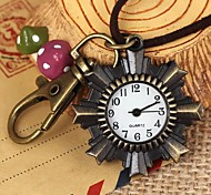 Unisex Octagonal Sunflowers-Shaped Round Dial Leather&Alloy Quartz Necklace /Keychain Watch Green Patina (1Pc)