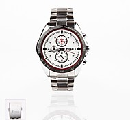 Personalized Gift New Style Men's White Dial Stainless Steel Band   Sport Analog Engraved Watch