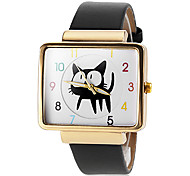 Women's Gold Square Case Cute Cat Pattern PU Band Quartz Wrist Watch (Assorted Colors)