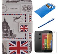 British Style Design PU Leather Full Body Case with Stylus、Protective Film and Soft Pouch for Motorola moto G