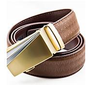 мужская богатых возраст моды личности цинкового сплава пластины пряжкой кожаный ремень коричневый