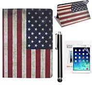 Retro Style American Flag PU Leather Full Body Case with Screen Protector and Touch Screen Pen Case for iPad mini/mini 2