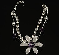 Fashion Hot Sell 30mm Flower-shaped Crystal with Rhinestone  Purpure Silver Plated Anklet for Girls as Present
