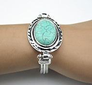 Toonykelly Vintage Look Antique Silver Turquoise  Stone Bracelet(1 Pc)
