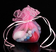 Round-Shaped Adjustable Mesh Gift Bags Pink (1Pc)