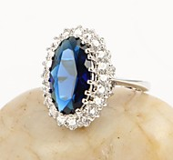 Oval Royal Blue Sapphire CZ Engagement Ring