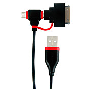1M 3.28FT USB2.0 to Mini 5Pin + Micro USB2.0 M/M Charging Cable with 30Pin Connector