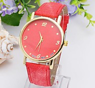 Women's Eco-Friendly Fashion Denim Watch Round China Movement Watch (Assorted Colors)