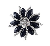 2014 New Arrivals Women Chunky Black Gemstone Flower Shaped Rhinestone Brooch