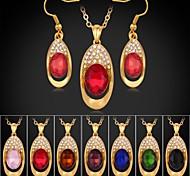 18K Gold Plated Rhinestone CZ Diamond Trendy Pendant Necklace Dangle Earrings Fashion Jewelry Sets
