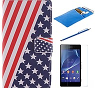 American Flag Design PU Leather Full Body Case with Stylus、Protective Film and Soft Pouch for Sony Z2