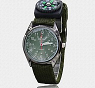 Men's Fabric Leather Strap Compass Functional Outdoor Sport Quartz Wrist Watches