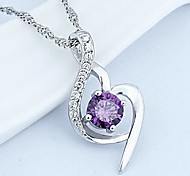 925 Sterling Silver Soft Love Pendant Necklace With Water Wave Necklace