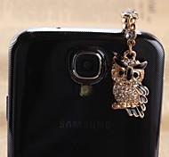 el diseño del búho 3,5 mm circón toma de auriculares anti-polvo para Samsung y iphone (colores surtidos)