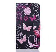 Pink Butterly Pattern PU Leather Case with Stand and Card Slot for Wiko Lenny