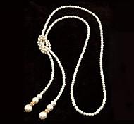 Европейский стиль высококачественной искусственной жемчужины просто длинное ожерелье (более цветов)
