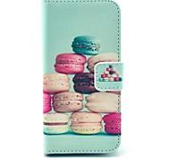 bolo padrão colorido capa de couro pu com slot para cartão e stand para Samsung Galaxy S4 mini-i9190