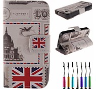 British Envelope Pattern PU Leather Full Body Case with Touch Pen for iPhone 4/4S