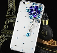 Fashion Transparent Crystal Flower Rhinestone PC Hard Case for iPhone 6