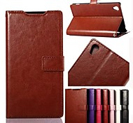 Oil Side Frame Model Design PU Leather Full Body Case with Card Slot for Sony Xperia Z3(Assorted Colors)