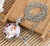 modello del gatto quadrante rotondo collana quarzo della lega delle donne orologio k bianco (1pc)