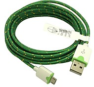 2M 6.6FT Braided Micro USB Sync Data Cable USB Charger (Green)