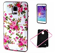 2-in-1 Pink Rose Peony Pattern TPU Back Cover with PC Bumper Shockproof Soft Case for Samsung Galaxy Note4 N910c