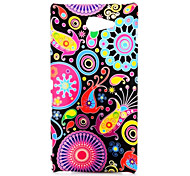 Colorized Flowers Pattern Oil Coated PC Hard Back Cover Case for Sony Xperia M2 D2303 D2305 D2306