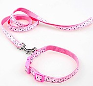 Adjustable Nylon Different Pattern Collar with Leash for Pet Dogs(Assorted Sizes,Random Colour)