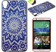fiori blu caso duro del modello del pc e supporto del telefono per HTC Desire 820