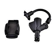 2.1a cargador universal dual del coche del usb 360 ° rotativo del montaje del sostenedor del soporte para mp3 / mp4 / mobile / gps / pda (negro)