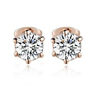 Popular Simple Six Claws Simulated Diamond Stud Earrings Made With Austrian Crystal Stellux Jewelry