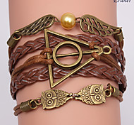 Eruner®Leather Bracelets Multilayer Alloy Owl and Wings Charms Handmade Bracelets Jewelry