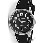 Men's Round Black Dial Silicone Black Band  Fashion Quartz Watch FW599