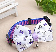 Adjustable Meshbelt Butterfly Pattern White Bowknot and Bell Decorated Collar for Pet Dogs