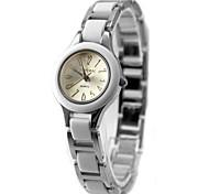 senhoras das mulheres redondas prata metálica revestida com plástico pulseira de quartzo pulseira de relógio fw718f