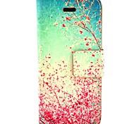 céu fun® Coco Red padrão floral de couro pu caso de corpo inteiro com o filme e cabo usb e stylus para iphone 5c