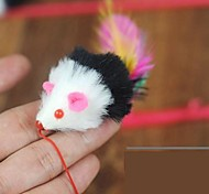 Cat Toy Pet Toys Teaser Feather Toy Mouse White Textile