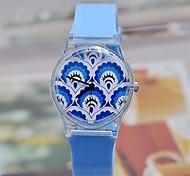 hermoso pavo de plástico patrón de la moda de las mujeres del reloj reloj de alta calidad circular