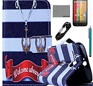 COCO FUN® Anchor Necklace Pattern PU Leather Full Body Case with Film and USB Cable and Stylus for Motorala Moto G