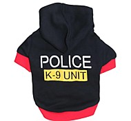 Cat / Dog Hoodie / Shirt / T-Shirt Black Dog Clothes Spring/Fall Letter & Number / Police/Military