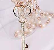 Women's Small Diamond Crown Key Pearl Love Necklace