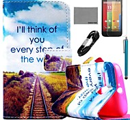COCO FUN® Future Road Pattern PU Leather Full Body Case with Film and USB Cable and Stylus for Motorala Moto G