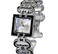Women's Ladies Square Shiny Silver Watchband Quartz Bracelet Watch FW644B