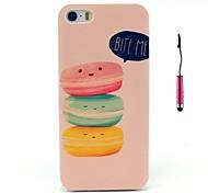 """""""Me muerde"""" palabras y tres donas lindos patrón pc caso duro con la pluma del tacto para el iphone 5 / 5s"""
