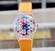 Women's Magic Color Transparent Plastic Watch Circular High Quality  Watch