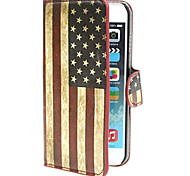 American USA Flag PU Leather Wallet Cover with Stand and Card Slot for iPhone 6