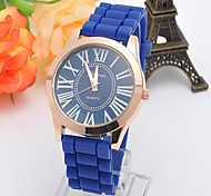 Men's and Women's Silicone Geneva Circular Silicon Tape China Movement Watch(Assorted Colors)