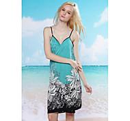 Women's Fashion Sexy Blue Print Deep-v Swimwear Swimsuit Beachdress Bikini Cover-up