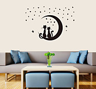Romantic All Over The Sky Stars Couple Cats PVC Wall Stickers Wall Art Decals